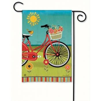 Popular unique design cute birds bicycle printing promotional mini garden flags
