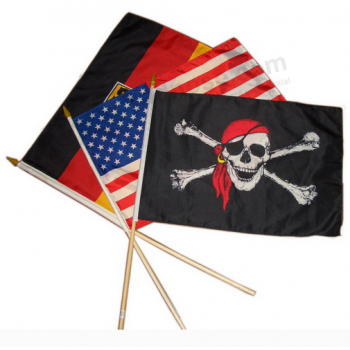 Factory Wholesale Wooden Hold Hand Held Flags Custom