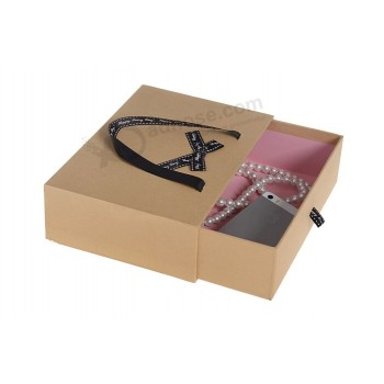 Kraft Paper Leather Belt Packaging Box with Handle and Drawer