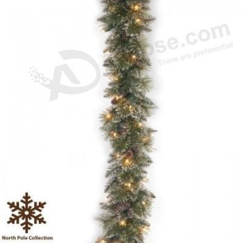 Wholesale 9 FT. Long Frosted Tips Christmas Garland with 50 LED Lights (MY205.447.00)