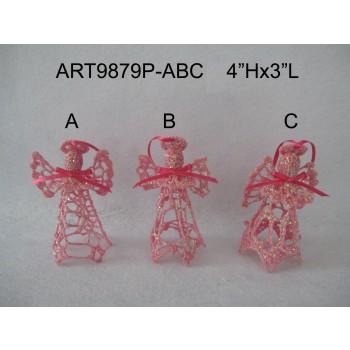 Pink Crochet Angel Wedding Decoration Gift-3asst Wholesale