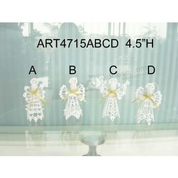 Custom Design Christmas Tree Decorationwhite Crochet Angel -4asst