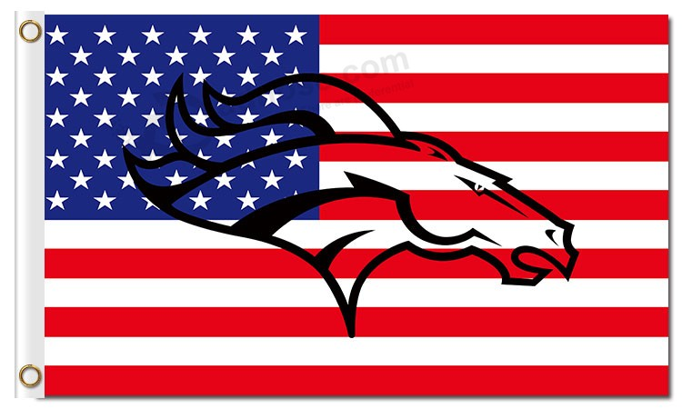 Nfl Denver Broncos 3 X5 Polyester Flags Us Flag With